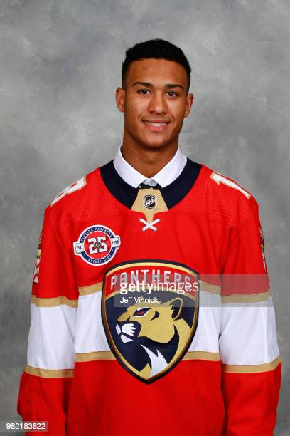 Serron Noel poses for a portrait after being selected 34th overall by the Florida Panthers during the 2018 NHL Draft at American Airlines Center on...