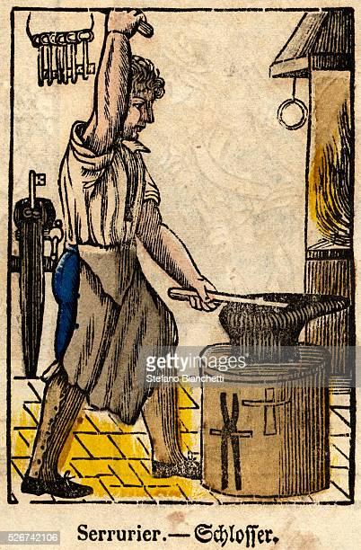 Serrurier Schlosser Woodblock Print