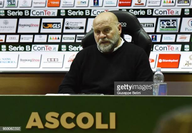 Serse Cosmi head coach of Ascoli Picchio during presse conference after the Serie B match between Ascoli Picchio and Ternana Calcio at Stadio Cino e...