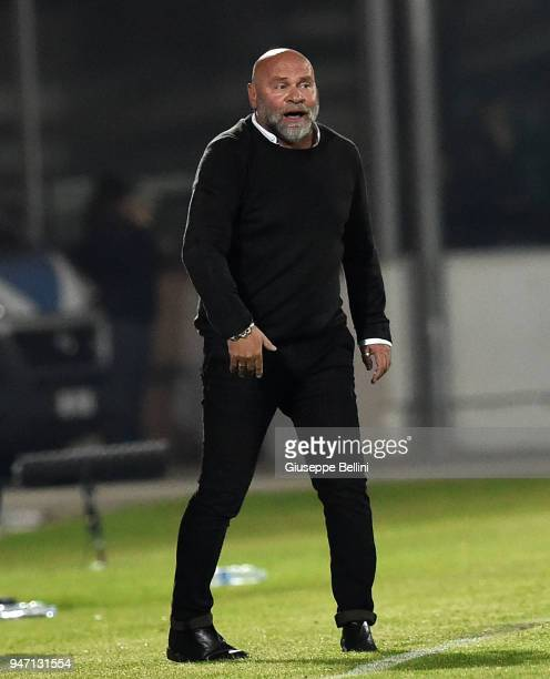Serse Cosmi head coach of Ascoli Picchio during the match between Ascoli Picchio and Parma Calcio at Stadio Cino e Lillo Del Duca on April 16 2018 in...