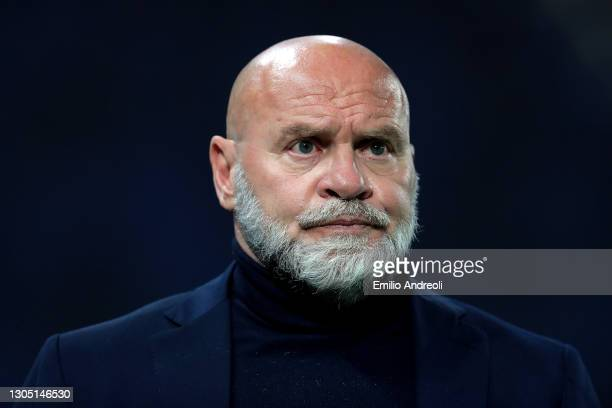 Serse Cosmi, Head Coach of Crotone looks on prior to the Serie A match between Atalanta BC and FC Crotone at Gewiss Stadium on March 03, 2021 in...