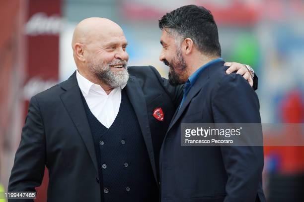 Serse Cosmi Perugia coach greets Gennaro Gattuso SSC Napoli coach before the Coppa Italia match between SSC Napoli and Perugia on January 14 2020 in...