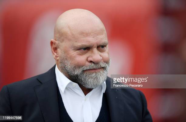 Serse Cosmi Perugia coach looks on before the Coppa Italia match between SSC Napoli and Perugia on January 14 2020 in Naples Italy
