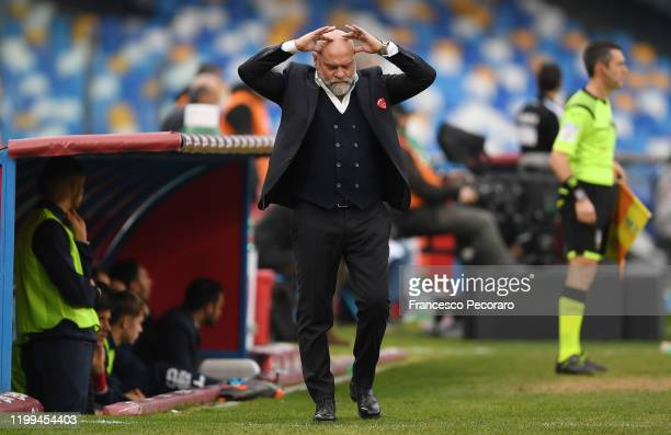 Serse Cosmi Perugia coach stands disappointed during the Coppa Italia match between SSC Napoli and Perugia on January 14 2020 in Naples Italy