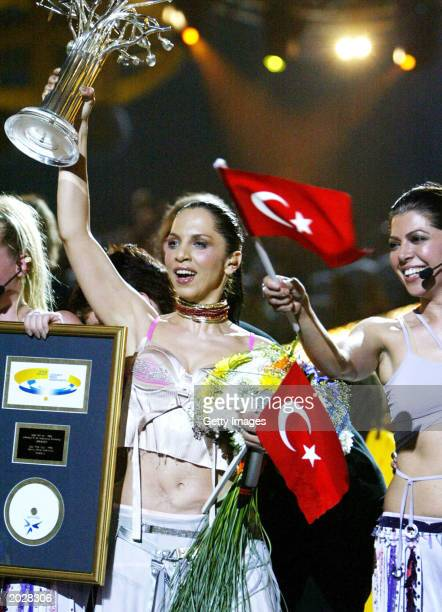 Sertab Erener of Turkey holds her award during the 48th Eurovision Song Contest on May 24 2003 in Riga Latvia Turkey won the contest with Erener's...