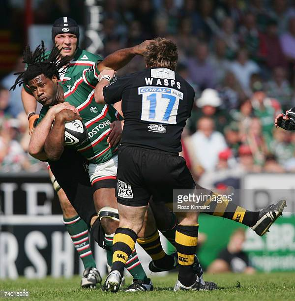 Seru Rabeni of Tigers is tackled by Nick Adams of Wasps during the Guinness Premiership match between Leicester Tigers and London Wasps at Welford...