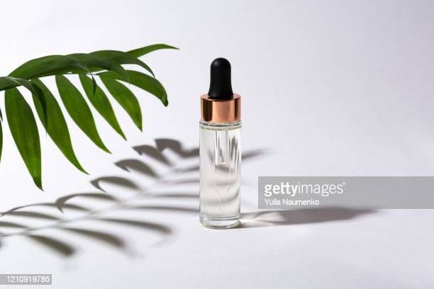 serum bottle with monstera leaves and palm leaves in hard shadows. cosmetic product for treatment, tincture or extract, cosmetic oil. shadows on a gray background, hard light. - for sale stock pictures, royalty-free photos & images
