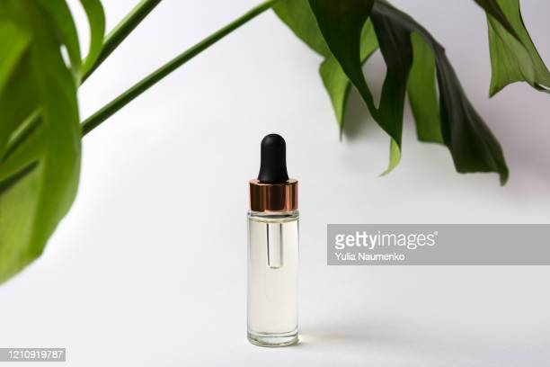 serum bottle with monstera leaves and palm leaves in hard shadows. cosmetic product for treatment, tincture or extract, cosmetic oil. shadows on a gray background, hard light. - aromatherapy oil stock pictures, royalty-free photos & images