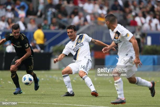 Servando Carrasco of Los Angeles Galaxy during the MLS match between Los Angeles FC and Los Angeles Galaxy at StubHub Center on March 31 2018 in...