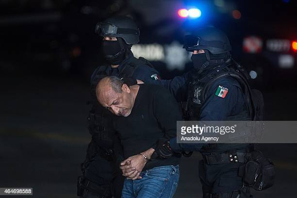 Servando Gomez known as La Tuta the leader of the Knights Templar cartel is transported in Mexico City Mexico on February 27 2015 after his capture...
