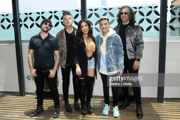 Servando Yanez Angel Baillo Jass Reyes Saak and Jorge Corrales pose for photos during a press conference to present their album 'Universo de Amor 3 y...