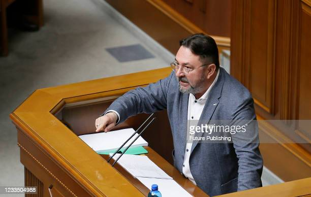Servant of the People MP Mykyta Poturaiev delivers a speech during a plenary sitting of the Ukrainian parliament, Kyiv, capital of Ukraine.