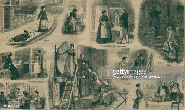 Servants of the wrong sort, housework, United Kingdom, illustration from the magazine The Graphic, volume XVIII, no 473, December 21, 1878.