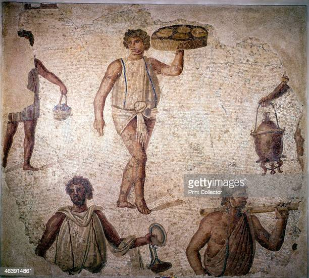 Servants or slaves making preparations for a feast, mosaic, Carthage, 2nd century. From the Musee du Louvre, Paris.