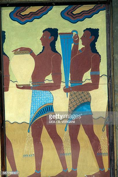 Servants with food and drink fresco in the Palace of Knossos Crete Greece Minoan civilisation 18th15th century BC