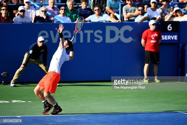 A 'serve clock' is a new feature at Rock Creek Park Tennis Center during the Citi Open tournament where Andy Murray starts his serve to fellow Brit...