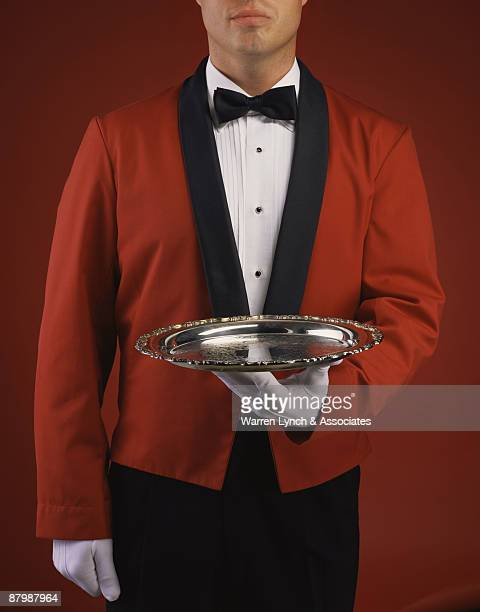 server in tuxedo - red suit stock pictures, royalty-free photos & images