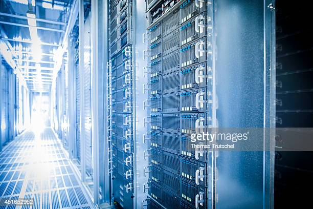 Server rack at the new data center of TSystems a subsidiary of Deutsche Telekom AG on July 01 in Biere Germany TSystems is the largest German and one...