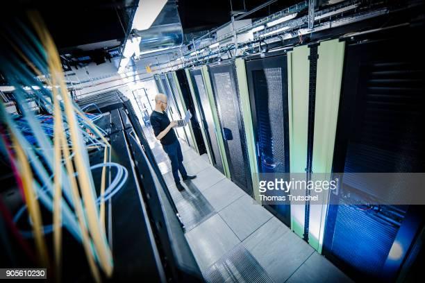 Server racks in a server center on January 12 in Berlin Germany