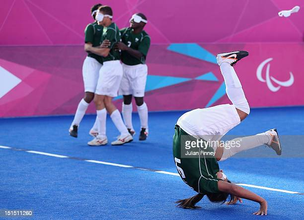 Serverino Gabriel da Silva of Brazil celebrates at full time after defeating France in the gold medal match during the 5 aside Football on day 10 of...