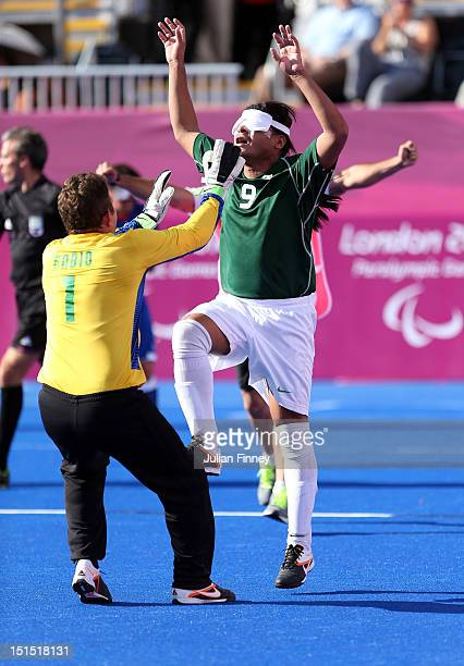 Serverino Gabriel da Silva of Brazil celebrates scoring a goal in the gold medal match during the 5 aside Football on day 10 of the London 2012...
