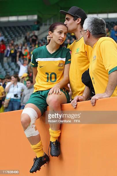 Servet Uzunlar of Australia talks to a family member after Brazil defeated Australia at the FIFA Women's World Cup 2011 Group D match between Brazil...