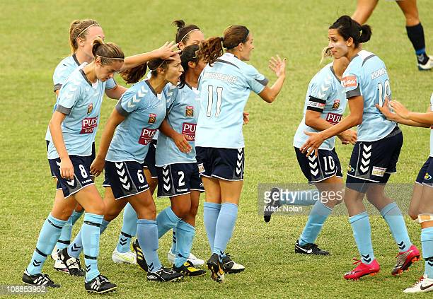 Servet Uzunlar of Sydney celebrates her penalty goal with team mates during the W-League semi final match between Sydney FC and the Melbourne Victory...
