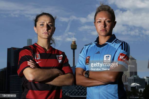Servet Uzunlar of the Wanderers and Kyah Simon of Sydney pose during the 2012/13 WLeague season launch at Jones Bay Wharf/Bondi Beach on October 16...