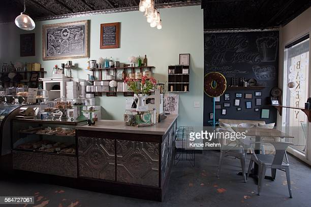 Service counter of vegan, allergy-friendly bakery and cafe