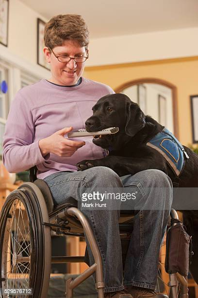 Service dog picking up the remote for a woman with multiple sclerosis in a wheelchair