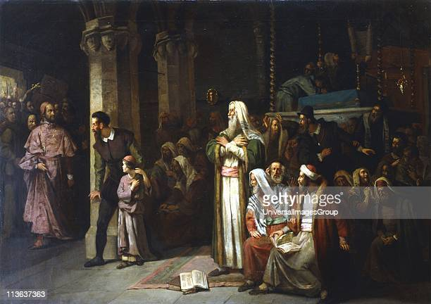 Service in the Synagogue during the reading from the Torah interrupted by the entrance of an angry crowd led by a priest Austrian school 1868 Oil on...