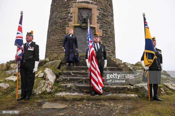 A service is held at the American monument on Islay's Mull of Oa to mark the sinking of SS Tuscania and HMS Otranto on May 4 2018 in Islay Scotland...