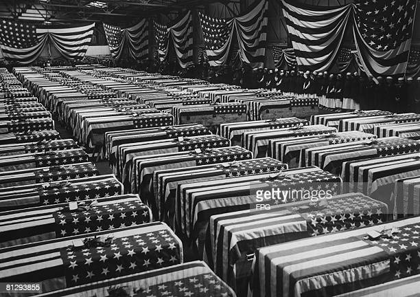 A service is held in Hoboken New Jersey for American soldiers who died on the battlefields of France during World War I circa 1920