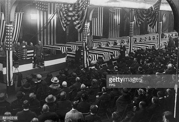 A service is held in Hoboken New Jersey for American soldiers who died on the battlefields of France during World War I circa 1918
