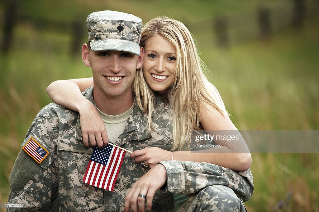 US Service Member With Young Wife : Stock Photo