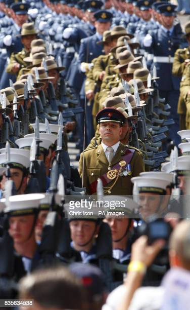 Service men and woman from the three forces parade into the Historic Dockyard in Chatham Kent to mark the first annual Armed Forces Day
