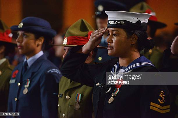 Service men and women from Australia and New Zealand take part in a dawn service to mark the centenary of the Gallipoli landings in Sydney on April...
