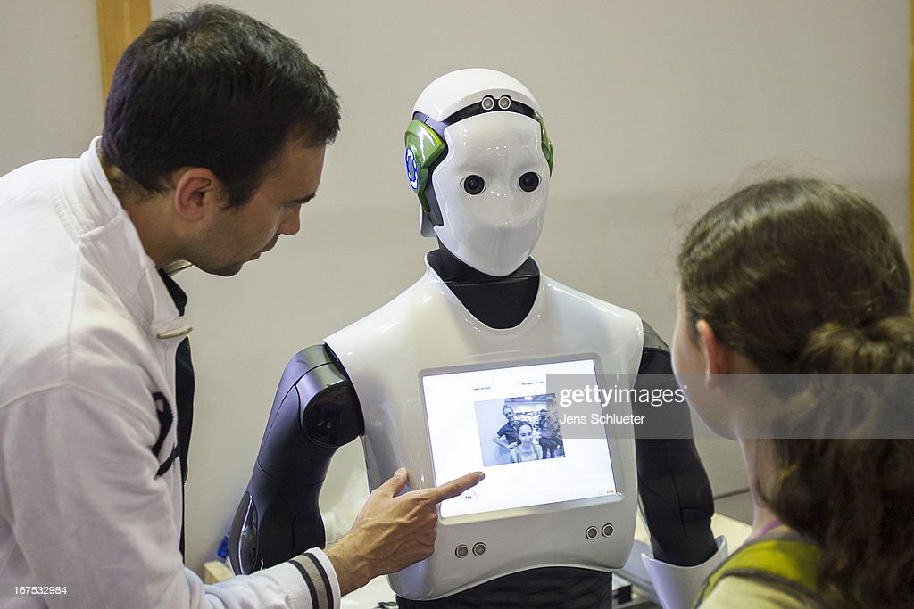 A service robot stand at the 2013 RoboCup German Open tournament on April 26, 2013 in Magdeburg, Germany. The three-day tournament is hosting 43 international teams and 158 German junior teams that compete in a variety of disciplines, including soccer, rescue and dance.
