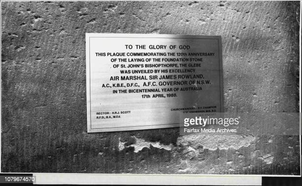 Service To Save The St John's Church Glebe The plaque unveiled by Governor Sir James Rowland April 17 1988