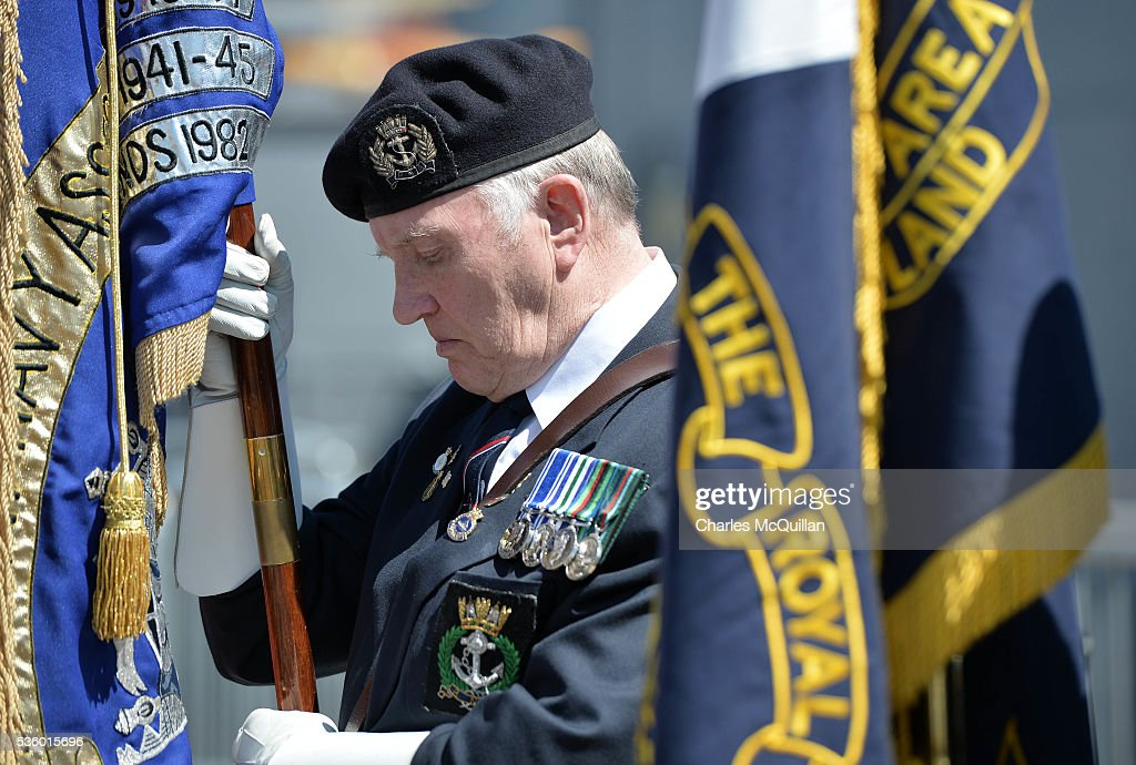A serviceman bows his head during the prayer service at HMS Caroline on May 31, 2016 in Belfast, Northern Ireland. HMS Caroline is the last surviving ship from the 1916 Battle of Jutland and today hosted a special all island commemoration service ahead of it's reopening to the public tomorrow after a major restoration project. The Battle of Jutland is remembered as the largest and deadliest naval battle of World War One, where more than 6,000 British and more than 2,500 German personnel lost their lives in the 36-hour Battle off the coast of Denmark.