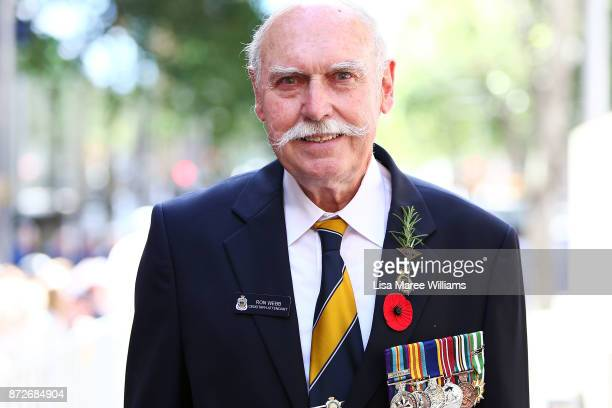 Serviceman Ron Webb attends to the Cenotaph during the Remembrance Day Service held at Martin Place on November 11 2017 in Sydney Australia This year...