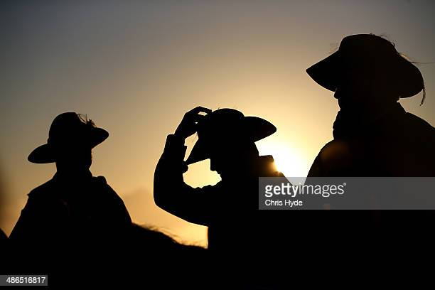 Serviceman stand guard during the ANZAC dawn service at Currumbin Surf Life Saving Club on April 25 2014 in Gold Coast Australia Veterans dignitaries...
