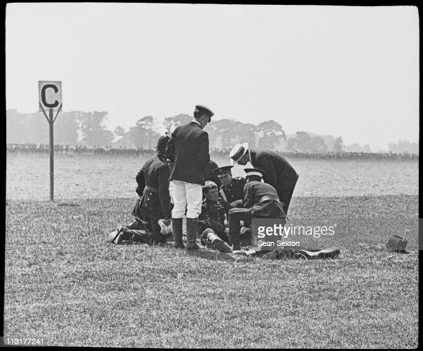 A serviceman suffers an accident at a military review in Dublin during a visit to Ireland by King George V and Queen Mary July 1911