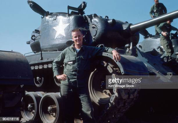 us serviceman with his tank korea