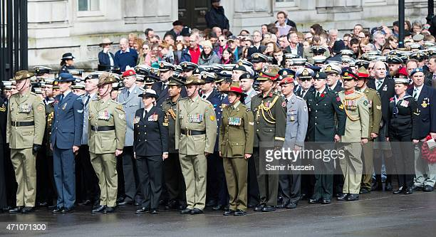 Servicemen and women and military veterans attend the wreathlaying ceremony at the Cenotaph to commemorate ANZAC Day and the Centenary of the...