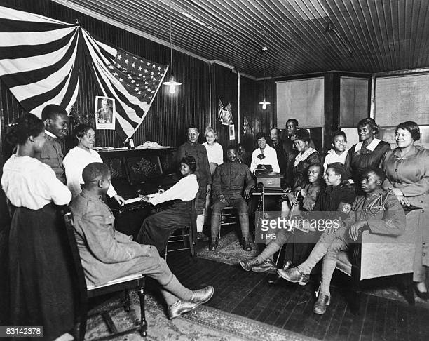 Servicemen at a club for AfricanAmerican soldiers in Newark New Jersey 1918