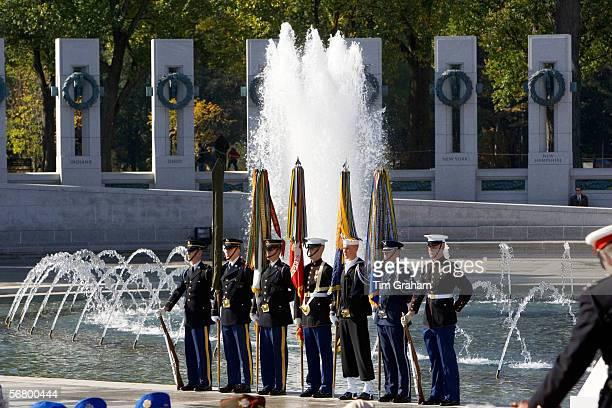 Servicemen at the National World War II Memorial, Washington DC, United States of America.