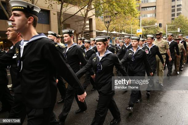 Servicemen make their way down Elizabeth Street during the ANZAC Day parade on April 25 2018 in Sydney Australia Australians commemorating 103 years...
