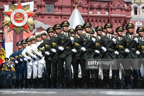 Servicemen of the Chinese Armed Forces march during a Victory Day military parade in Red Square marking the 75th anniversary of the victory in World...