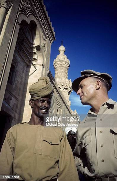 US servicemen talk with local official at the US Army and Air Force base in Khartoum AngloEgyptian Sudan